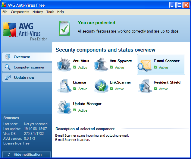 Free virus scan software AVG