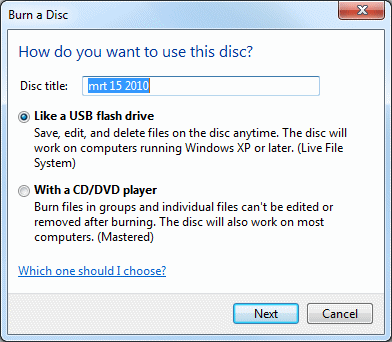 Burning CD/DVD: prepare an empty disk