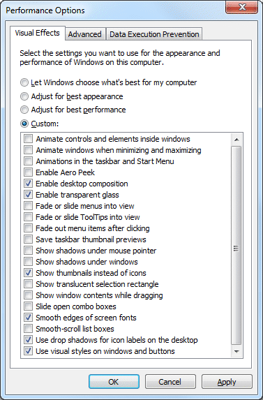 Advanced system settings: visual performance options