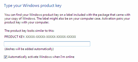 Type the Windows 7 product key