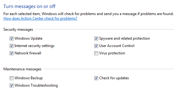 Action Center: turn messages on or off