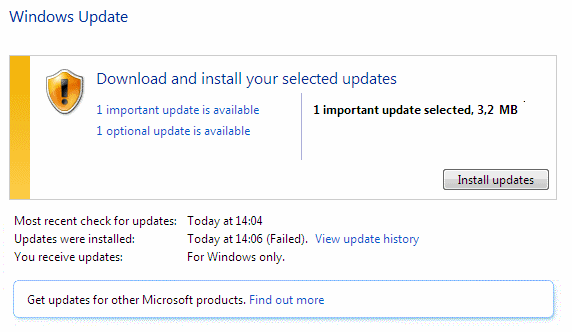 Windows Update: download and install important and optional updates